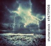 dark ocean storm with lgihting... | Shutterstock . vector #696759508