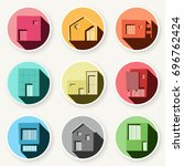 set of minimal colorful house ... | Shutterstock .eps vector #696762424