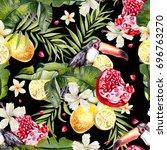 beautiful watercolor seamless... | Shutterstock . vector #696763270