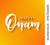 happy onam greeting lettering.... | Shutterstock .eps vector #696766600