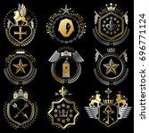 collection of heraldic... | Shutterstock . vector #696771124