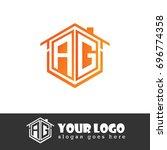 initial letter ag linked logo ... | Shutterstock .eps vector #696774358