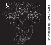 creepy black cat with monster... | Shutterstock .eps vector #696776356