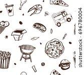 fastfood seamless pattern. menu ... | Shutterstock .eps vector #696780004