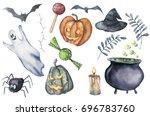 watercolor halloween symbols...   Shutterstock . vector #696783760