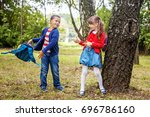 funny little students go to... | Shutterstock . vector #696786160