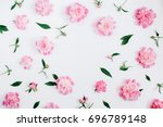 frame of pink peony flowers ... | Shutterstock . vector #696789148