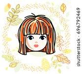 girls face  human head.... | Shutterstock . vector #696792469