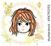 girls face  human head.... | Shutterstock . vector #696792553