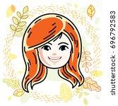 cute girls face  human head.... | Shutterstock . vector #696792583