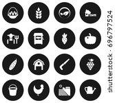 set of 16 harvest icons set... | Shutterstock .eps vector #696797524