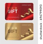 gift card with gold ribbons ... | Shutterstock .eps vector #696799093
