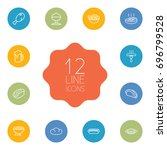 set of 12 food outline icons... | Shutterstock .eps vector #696799528