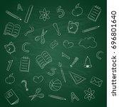 funny school doodles on...   Shutterstock .eps vector #696801640