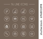 set of 16 animals outline icons