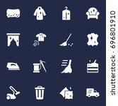 set of 16 harvesting icons set... | Shutterstock .eps vector #696801910