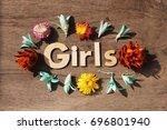 girls lettering.wood letters... | Shutterstock . vector #696801940