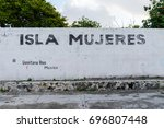 "a wall painted with ""isla... 