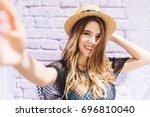 close up portrait of happy girl ... | Shutterstock . vector #696810040