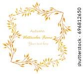 watercolor autumn frame... | Shutterstock . vector #696812650