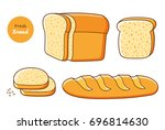 half a loaf of bread and slices ... | Shutterstock .eps vector #696814630