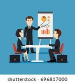 businessman holds an economic... | Shutterstock . vector #696817000