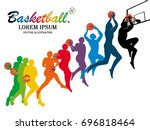 visual drawing basketball step... | Shutterstock .eps vector #696818464