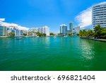 scenic miami beach cityscape... | Shutterstock . vector #696821404