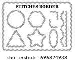 vector set of white seamless... | Shutterstock .eps vector #696824938