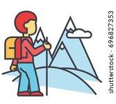 traveller hiking in mountains... | Shutterstock .eps vector #696827353