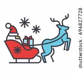 santa claus in a sleigh with a... | Shutterstock .eps vector #696827728
