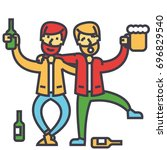 male alcoholism  drunk people ... | Shutterstock .eps vector #696829540