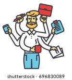 businessman time management ... | Shutterstock .eps vector #696830089