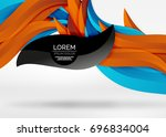 vector colorful wave lines in... | Shutterstock .eps vector #696834004