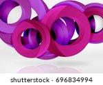 modern 3d ring composition in... | Shutterstock .eps vector #696834994