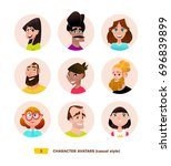 characters avatars in cartoon... | Shutterstock .eps vector #696839899