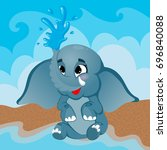 cute little elephant character... | Shutterstock .eps vector #696840088