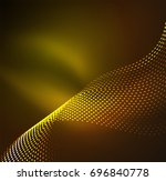 wave particles background   3d ... | Shutterstock . vector #696840778
