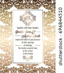 vintage baroque style wedding... | Shutterstock . vector #696844510