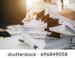 businessman hands working in... | Shutterstock . vector #696849058