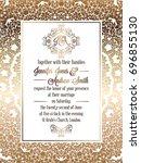 vintage baroque style wedding... | Shutterstock . vector #696855130