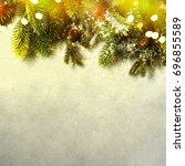 christmas card with fir and... | Shutterstock . vector #696855589