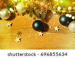 christmas card with fir and... | Shutterstock . vector #696855634