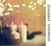 christmas candles and ornaments ...   Shutterstock . vector #696859420