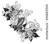 koi fish and chrysanthemum...   Shutterstock .eps vector #696865504