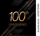 one hundred years anniversary...   Shutterstock .eps vector #696870484