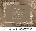 floral invitation card or... | Shutterstock . vector #696876208