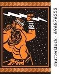 greek roman ray god  jupiter... | Shutterstock .eps vector #696876253
