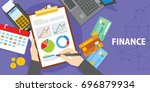 financial analysis with laptop... | Shutterstock .eps vector #696879934