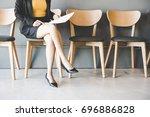 young women waiting for job... | Shutterstock . vector #696886828